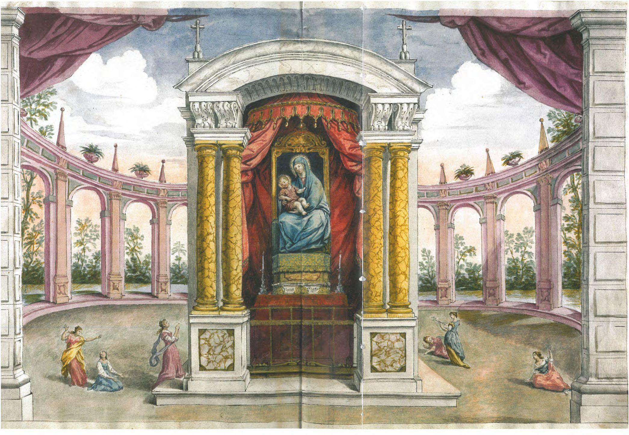La Madonna del Baraccano nella cappelletta originale in una rappresntazione fantasiosa